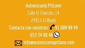 Contacta con Autoescuela Pit Lane en El Boalo en el 653 34 90 48