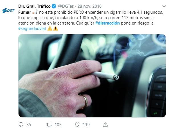 Fumar provoca distracciones