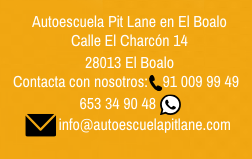 Datos de contacto de la Autoescuela Pit Lane en El Boalo.